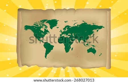 Detailed World Map - All Countries Separable And Scalable + Fancy Background  - stock vector