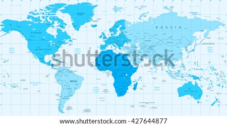 Detailed World map blue colors isolated on white. Vector illustration. - stock vector