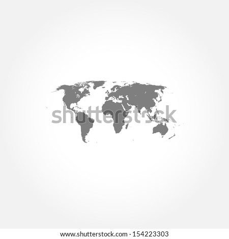 Detailed world map icon - stock vector