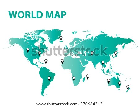 Detailed world map vector background. - stock vector