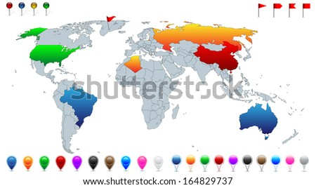 Detailed world map, with every recognized country selectable. Collection of colorful pins, pointers, flags and banners for location pinpoint.   - stock vector
