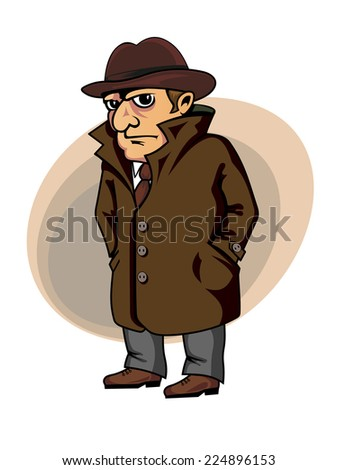 Detective or spy man in cartoon style for security concept design - stock vector