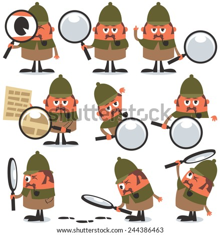 Detective Pack: Set of 9 illustrations of cartoon detective. No transparency and gradients used.  - stock vector