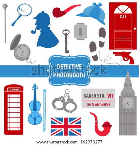 Detective Sherlock Party set - photobooth props - silhouettes, pipes, mask, hat - in vector - stock vector