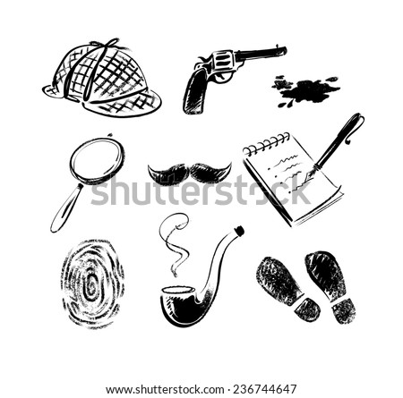 Detective sketch icons retro style vector set. Isolated. - stock vector