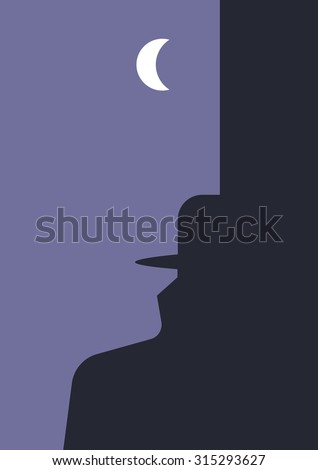 Detective story. Human head and man in a hat and raincoat silhouettes created using negative and positive space. Suitable for book covers, posters, flyers etc. - stock vector