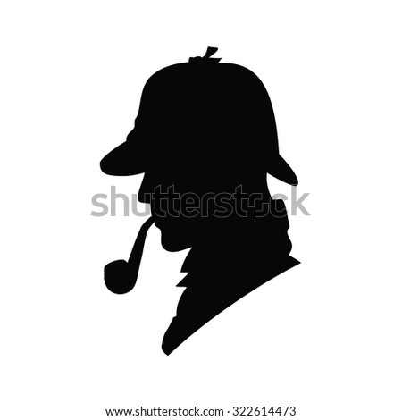 Detective vector profile icon, logo. Detective vector silhouette. Man in hat, agent spy, private and mysterious, human inspector - stock vector