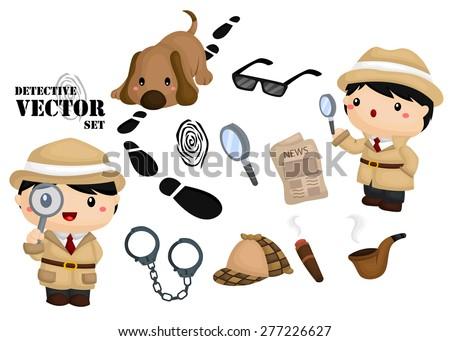 Detective vector set - stock vector