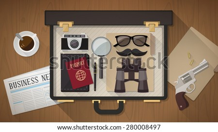 Detective vintage briefcase with camera, magnifier, sunglasses, passport, mustaches, revolver and newspaper on a desktop, top view - stock vector