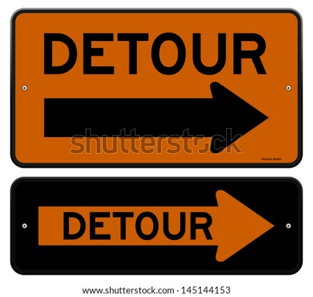 Detour Sign - stock vector