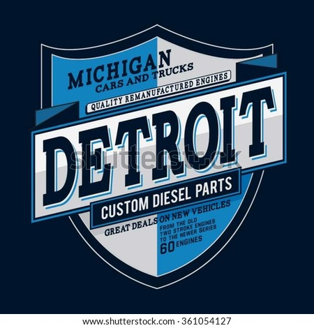 Detroit motorcycle car typography, t-shirt graphics, vectors - stock vector