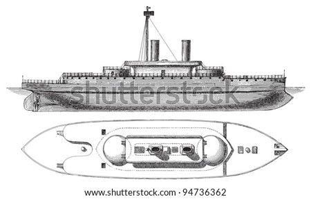 Devastation battleship (England) / vintage illustration from Meyers Konversations-Lexikon 1897 - stock vector