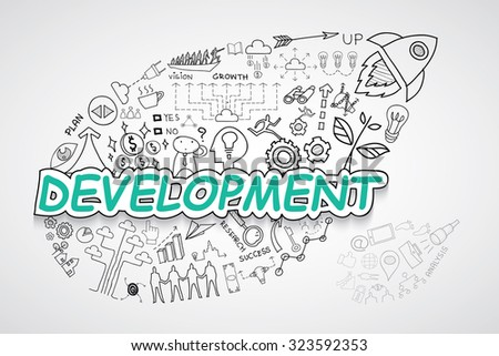 Development text, With creative drawing charts and graphs business success strategy plan idea, Inspiration concept modern design template workflow layout, diagram, step up options, Vector illustration - stock vector