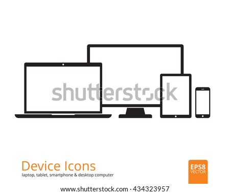 Device icons smartphone, tablet, laptop and desktop computer. Set of flat gadgets  isolated on white background. Modern digital media mockup with blank displays. Responsive design template in EPS8. - stock vector
