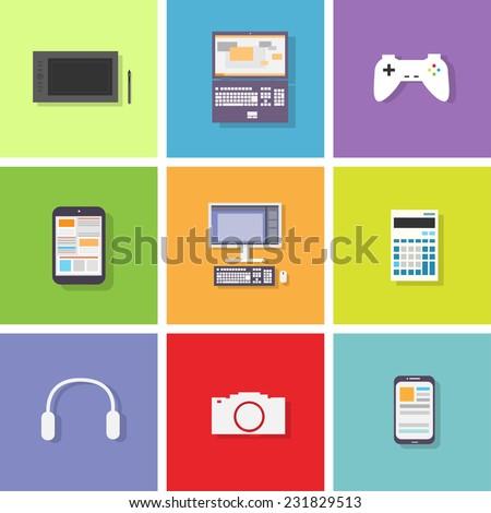 device set color icon flat design vector illustration - stock vector