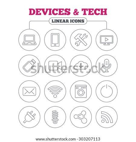 Devices and technologies icons. Notebook, smartphone and wi-fi symbols. Usb flash, video camera, microphone thin outline signs. Washing machine, fluorescent lamp and electric plug. Circle buttons. - stock vector
