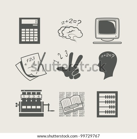 devices for calculation set icon vector illustration - stock vector
