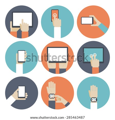 Devices in hand, using touch screen. Smart watch, ebook and monitor, touchpad and gadget, smartphone and tablet. Vector illustration - stock vector