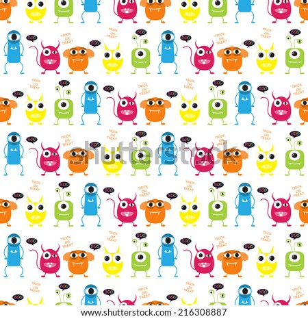 devil and monster  halloween  patterns. Endless texture can be used for wallpaper, pattern fills, web page,background,surface - stock vector