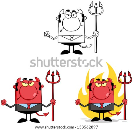 Devil Boss Cartoon Characters. Vector Collection 6 - stock vector