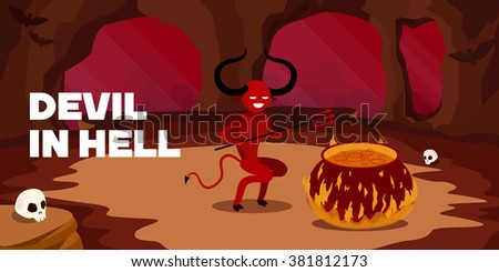 Devil in his home. bat , scull, Fantasy. Halloween. Flat vector illustration, business banner, doodle, red, night, concept - stock vector