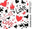 Devil love pattern - stock vector