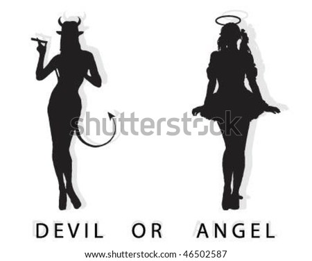 Devil or Angel. - stock vector