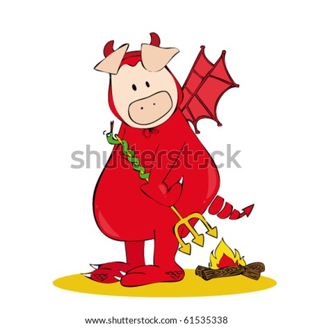 Devil Pig. - stock vector