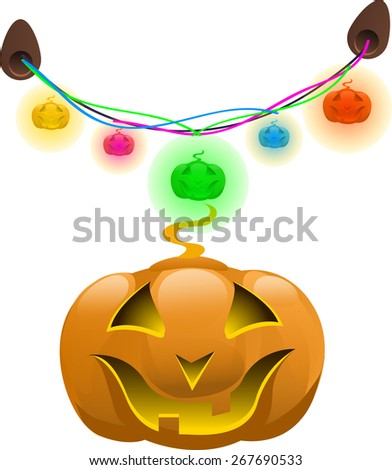 devil pumpkin mask for Halloween and colorful garland  - stock vector
