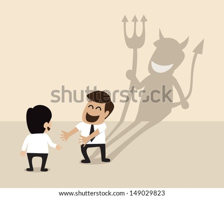Devil shadow behind a smiling face of two businessmen - stock vector