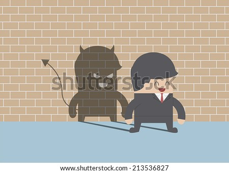 Devil shadow behind smiling businessman, VECTOR, EPS10 - stock vector