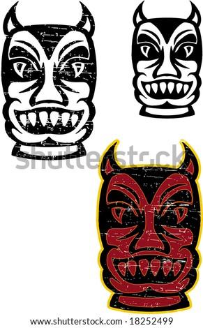 Devil tiki - stock vector