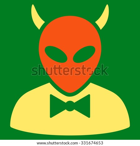 Devil vector icon. Style is flat bicolor orange and yellow symbol, rounded angles, green background. - stock vector