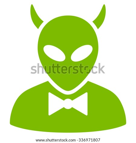 Devil vector icon. Style is flat eco green symbol, rounded angles, white background. - stock vector