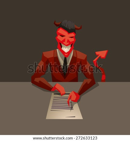 Devils contract, vector - stock vector