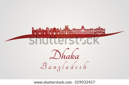 Dhaka skyline in red and gray background in editable vector file - stock vector