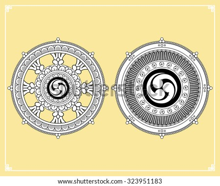 Dharma Wheel, Dharmachakra Icons. Wheel of Dharma in black and white design. Buddhism symbols. Symbol of Buddha's teachings on the path to enlightenment, liberation from the karmic rebirth in samsara. - stock vector