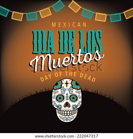 Dia de los Muertos with sugar skull EPS 10 vector - stock vector