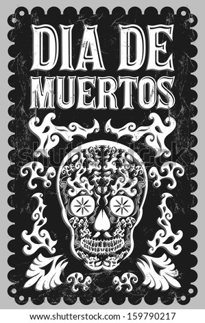Dia de Muertos - Mexican Day of the death spanish text - chalkboard - stock vector