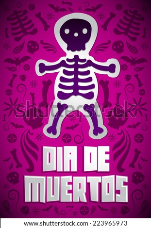 Dia de Muertos - Mexican Day of the death spanish text dark candy vector decoration - stock vector