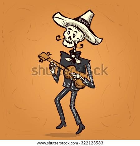 Dia de Muertos. Skeleton mariachi musician. Mexican tradition. Hand drawn vector illustration - stock vector