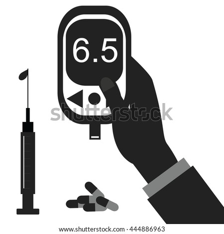 Diabetes icon and vector.Blood Glucose Test.Hand holding Glucose Meter. - stock vector