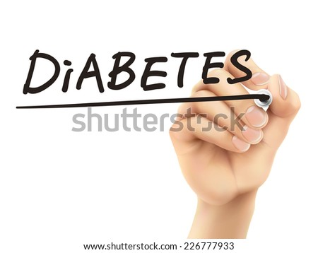 diabetes word written by 3d hand over white background - stock vector