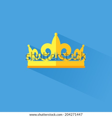 diadem vector, flat style with long shadow  - stock vector