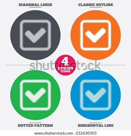 Diagonal and horizontal lines, classic outline, dotted texture. Check mark sign icon. Yes square symbol. Confirm approved. Pattern circles. Vector - stock vector