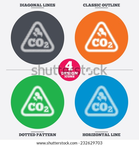 Diagonal and horizontal lines, classic outline, dotted texture. CO2 carbon dioxide formula sign icon. Chemistry symbol. Pattern circles. Vector - stock vector