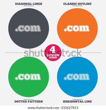 Diagonal and horizontal lines, classic outline, dotted texture. Domain COM sign icon. Top-level internet domain symbol. Pattern circles. Vector - stock vector