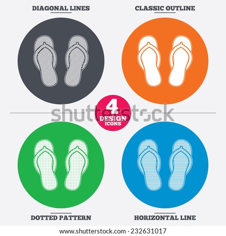 Diagonal and horizontal lines, classic outline, dotted texture. Flip-flops sign icon. Beach shoes. Sand sandals. Pattern circles. Vector - stock vector
