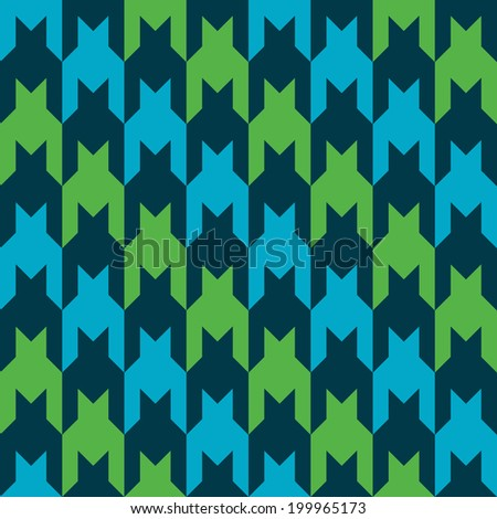 Diagonal striped houndstooth pattern in blue, dark blue and green. - stock vector