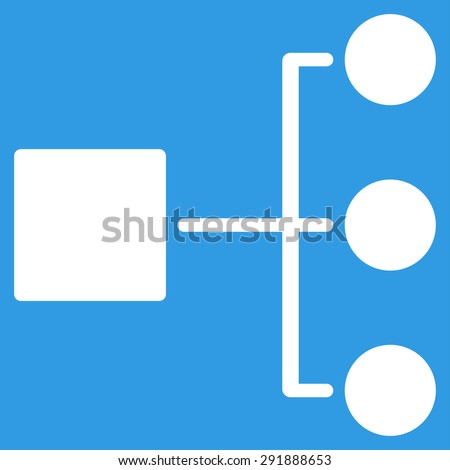 Diagram icon from Commerce Set. Vector style: flat symbol, white color, rounded angles, blue background. - stock vector